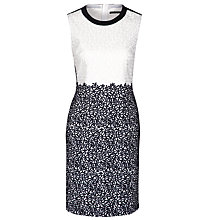 Buy BOSS Woman Embroidered Deleva Dress, White/Navy Online at johnlewis.com