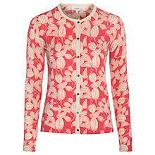 Buy Hoss Intropia Leaf Print Cardigan, Coral Online at johnlewis.com