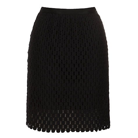 Buy Hoss Intropia Crochet Skirt, Black Online at johnlewis.com