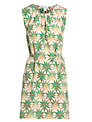 Hoss Intropia Leaf Print Silk Dress, Green