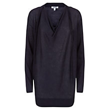 Buy Farhi by Nicole Farhi Cowl Neck Linen Jumper, Slate Online at johnlewis.com