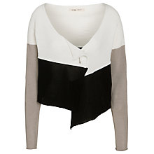Buy Crea Concept Ribbed Colour Block Cardigan, Black/Stone/Cream Online at johnlewis.com