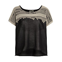 Buy Crea Concept Lace Detail Knitted Top, Black/Taupe Online at johnlewis.com
