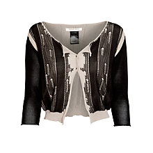 Buy Crea Concept Ladder Detail Cardigan, Stone/Black Online at johnlewis.com