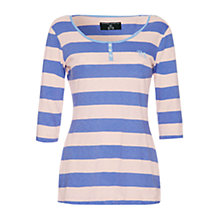 Buy Rampant Sporting Heritage Crew Neck Henley,  Peach Stripe Online at johnlewis.com