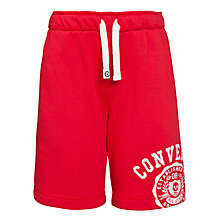 Buy Converse Boys' Logo Jersey Shorts, Red Online at johnlewis.com