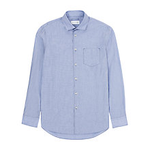 Buy Jigsaw Regular Contrast Stitch Long Sleeve Shirt, Summer Blue Online at johnlewis.com