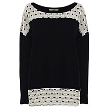 Buy Oasis Lace Detail Jumper, Navy Online at johnlewis.com
