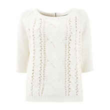 Buy Mint Velvet Half Sleeve Cable Knit Top, Ivory Online at johnlewis.com
