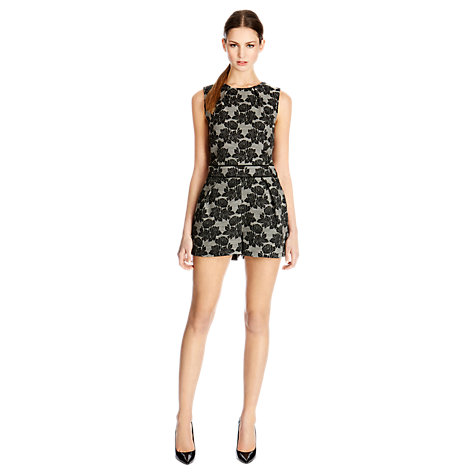 Buy Warehouse Floral Jacquard Playsuit, Black Online at johnlewis.com