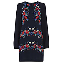 Buy Warehouse Stripe Floral Shift Dress, Blue Online at johnlewis.com