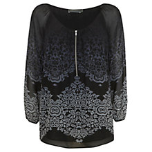 Buy Mint Velvet Megan Print Blouse, Midnight Blue Online at johnlewis.com