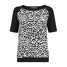 Buy Mint Velvet Alma Print Knit Back Top, Black / Ivory Online at johnlewis.com