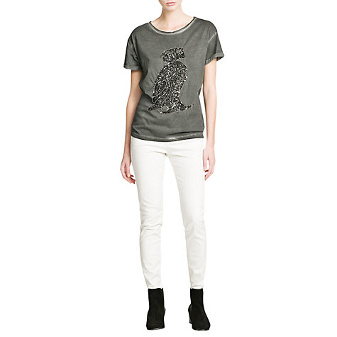 Buy Mango Sequin Animal T-Shirt, Dark Grey Online at johnlewis.com