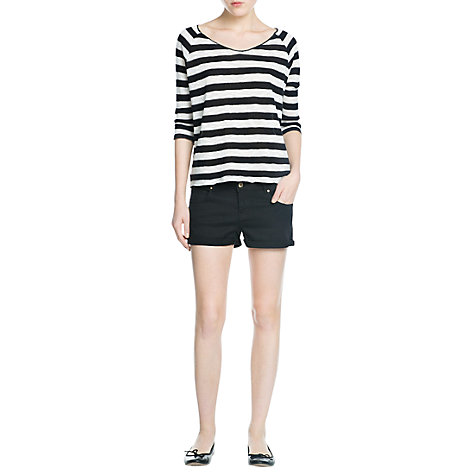 Buy Mango Striped Open Neck Knitted T-Shirt, Black Online at johnlewis.com