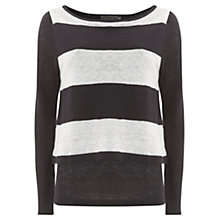 Buy Mint Velvet Striped Layer Knit Top, Navy / Ivory Online at johnlewis.com