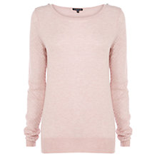 Buy Warehouse Pointelle Zip Shoulder Jumper, Light Pink Online at johnlewis.com