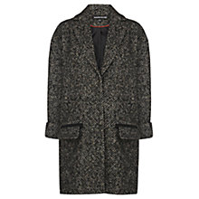 Buy Warehouse Neon Tweed Coat, Black Online at johnlewis.com
