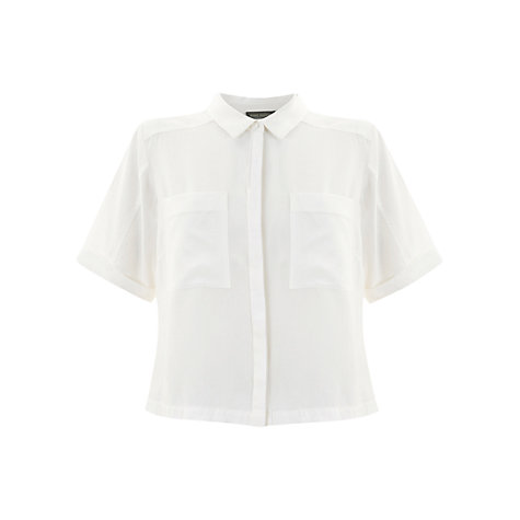 Buy Mint Velvet Sheer Back Shirt, Ivory Online at johnlewis.com