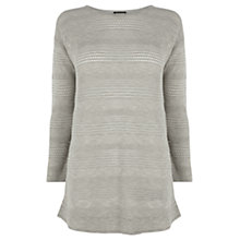 Buy Warehouse Curve Hem Pointelle Stitch Jumper, Grey Online at johnlewis.com
