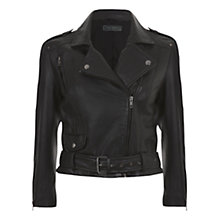 Buy Mint Velvet Cropped Leather Biker Jacket, Black Online at johnlewis.com