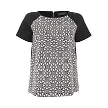 Buy Mint Velvet Melissa Print Tee Top, Black /  White Online at johnlewis.com