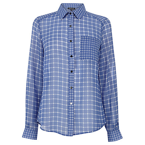 Buy Warehouse MIxed Check Shirt, Blue Online at johnlewis.com
