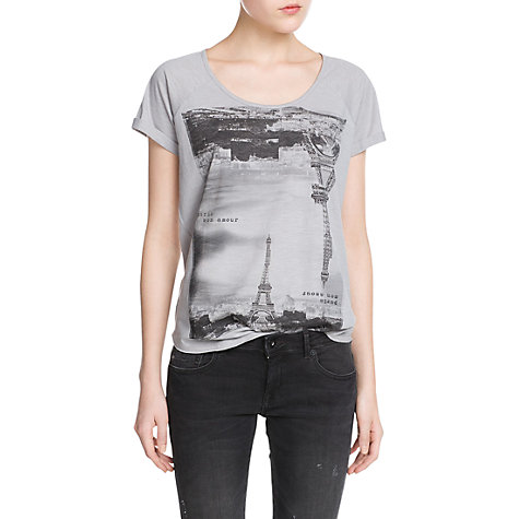 Buy Mango City Slub T-Shirt, Light Pastel Grey Online at johnlewis.com