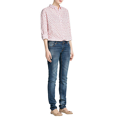 Buy Mango Tie Cotton Shirt, Red Online at johnlewis.com