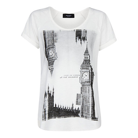 Buy Mango City Slub T-Shirt, Natural White Online at johnlewis.com