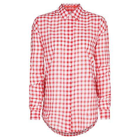 Buy Mango Gingham Cotton Shirt, Bright Red Online at johnlewis.com