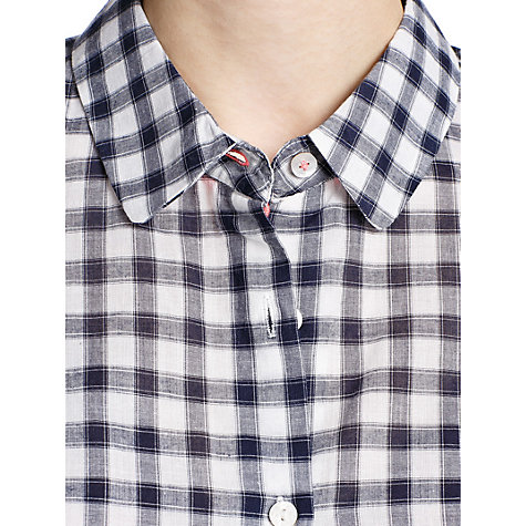 Buy Mango Gingham Cotton Shirt, Navy Online at johnlewis.com