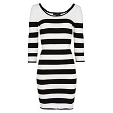 Buy Mango Striped Bodycon Dress, Black Online at johnlewis.com