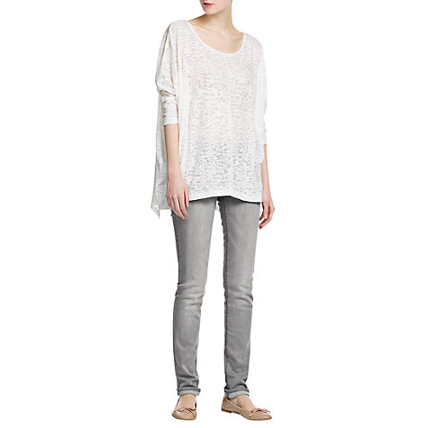 Buy Mango Devore T-Shirt, Natural White Online at johnlewis.com