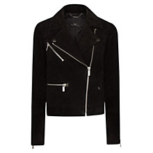 Buy Mango Peccary Biker Jacket, Black Online at johnlewis.com