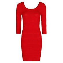 Buy Mango Stripe Texture Bodycon Dress, Bright Red Online at johnlewis.com