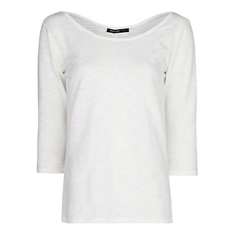 Buy Mango Cotton Slub Cotton T-Shirt, Natural White Online at johnlewis.com