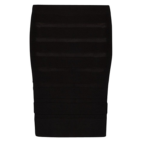 Buy Mango Striped Textured Skirt, Black Online at johnlewis.com