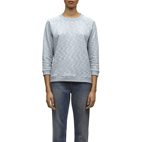 Buy Whistles Kassidy Silk Back Sweatshirt, Blue Online at johnlewis.com