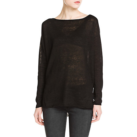Buy Mango Linen Jumper, Black Online at johnlewis.com