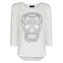 Buy Mango Skull Devore T-shirt, White Online at johnlewis.com