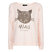 Buy Mango Miau Cotton Sweatshirt, Medium Pink Online at johnlewis.com