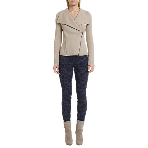 Buy Jigsaw Richmond Floral Jacquard Skinny Jeans, Navy Online at johnlewis.com
