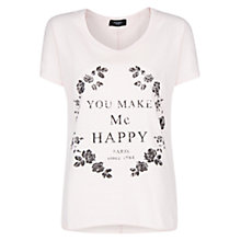 Buy Mango You Make Me Happy T-shirt, Medium Pink Online at johnlewis.com