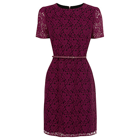 Buy Oasis Lace Skater Shift Dress, Burgandy Online at johnlewis.com