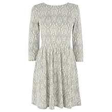 Buy Oasis Lace Textured Skater Dress, Pale Grey Online at johnlewis.com