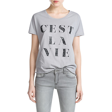 Buy Mango C'est La Vie T-shirt, Light Pastel Grey Online at johnlewis.com