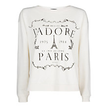 Buy Mango Message Cotton Sweatshirt, Natural White Online at johnlewis.com