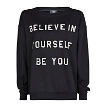 Buy Mango Message Cotton Sweatshirt, Black Online at johnlewis.com