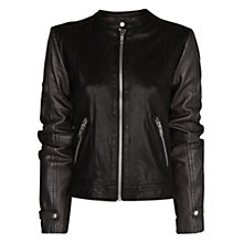 Buy Mango Stitch Leather Jacket, Black Online at johnlewis.com